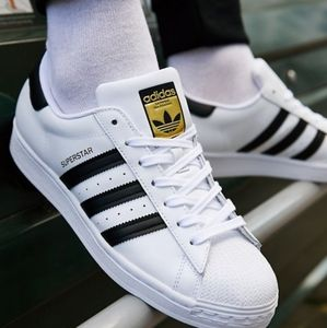 Adidas Super Stars White and Black Strip Shoes